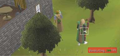 99 Woodcutting Cape & Perk Active, standing besides the skillcape seller.